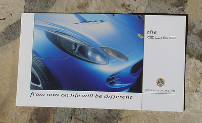 Lotus Elise Series 2 Official brochure, 16 pages, fold-out color chart. Oct. 2000 English