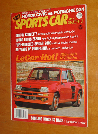 Motor Trend's Sports Car Graphic No. 7 October / November 1980. Renault 5 Turbo story by Tony Swan. Other articles and photos on: Stirling Moss, the Great Cars of Lamborghini, Ferrari LM, 50 Years of Pininfarina, etc.
