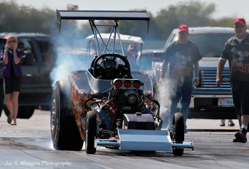 """""""Shockwave"""", a nitro burning Fuel Altered skillfully driven by Bobby Marriott, a long time drag racer."""