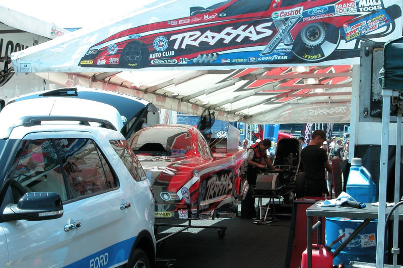 Eventual event winner Courtney Force's pit.