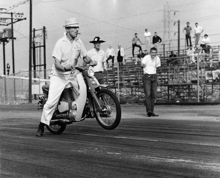 The Boss, CJ Hart on his Honda 50 at Lion's 1965