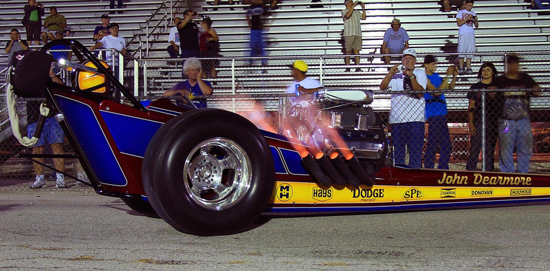 Crazy nitro fire exits John Dearmore's headers during the night cackle.