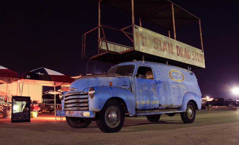 Pelican State Timing Association push/event truck at Texas Nitro Nostalgia Championships, San Antonio, Texas 5-5-2012.