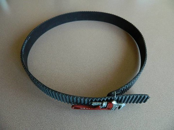 "I cut a blower belt in half, dressed the edges, and made this belt.   For those that have to know, it is currently sized for a 44"" waist.  A standard TAFC blower belt could be made to fit larger or smaller."