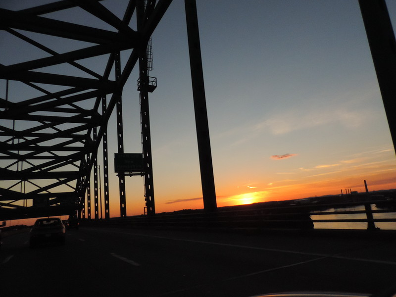 Sunset going over the bridge from Maine into New Hampshire