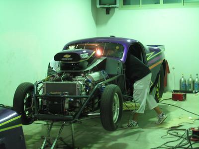 Hard at work in Khalid Al Balooshi's garage.