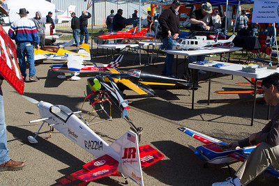 Nearby a variety of RC planes were being set up.