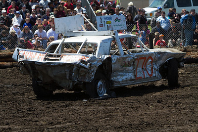 Destruction derby in the afternoon  drew a large crowd, and trashed the cars.
