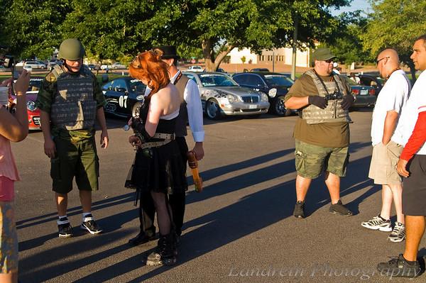 Team Shake 'n Bake II: Discman's Revenge interrogated every car entering the lot.