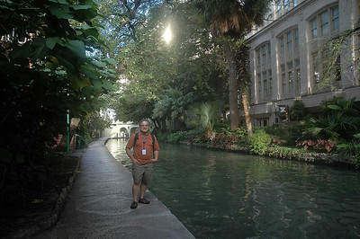 Taking a morning stroll along the River Walk in downtown San Antonio, TX. The rally resumes in about an hour and a half. The hotel stay was quite welcome after driving about 664 miles in about 12 hours.