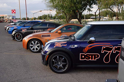 Fast forward 725 miles from Denver to El Paso. The Friday before the Rally is the tech (safety) inspection. No. 77 passed with no issues. Notice the new wheels and tires on the MINI.