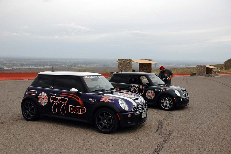 Rally Day 1. Just outside of El Paso, atop Transmountain Dr. The rally has two MINIs among the field dominated by Subaru WRXs, Corvettes, Porsches.