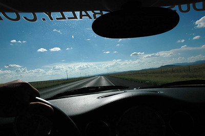 The driver's view for much of the lonely two-lane highways in south Texas. The average temperature was about 95 degrees. The MINI's A/C worked very well, even during times of high humidity.