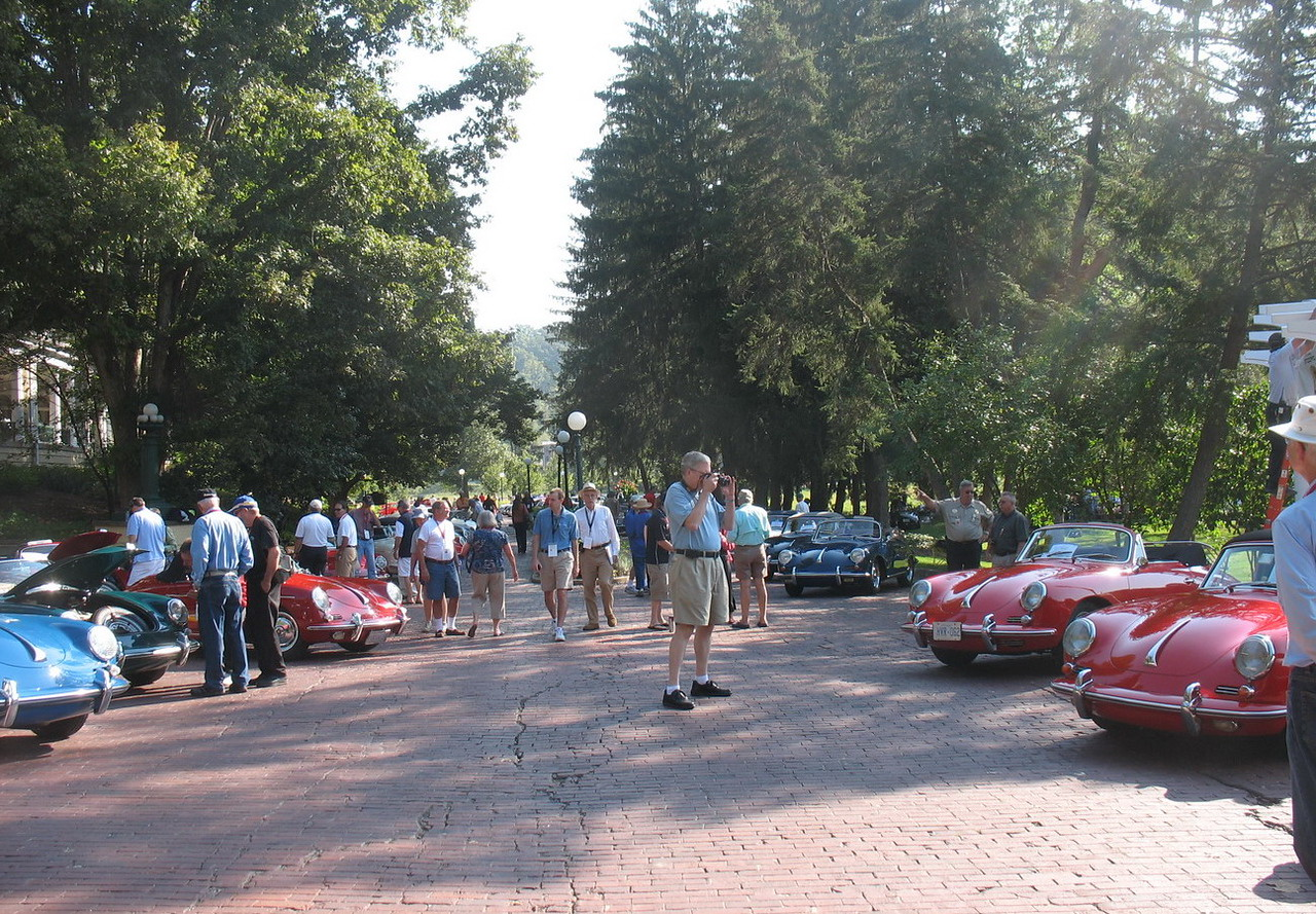 The car show. Our car is to the right with the top down.