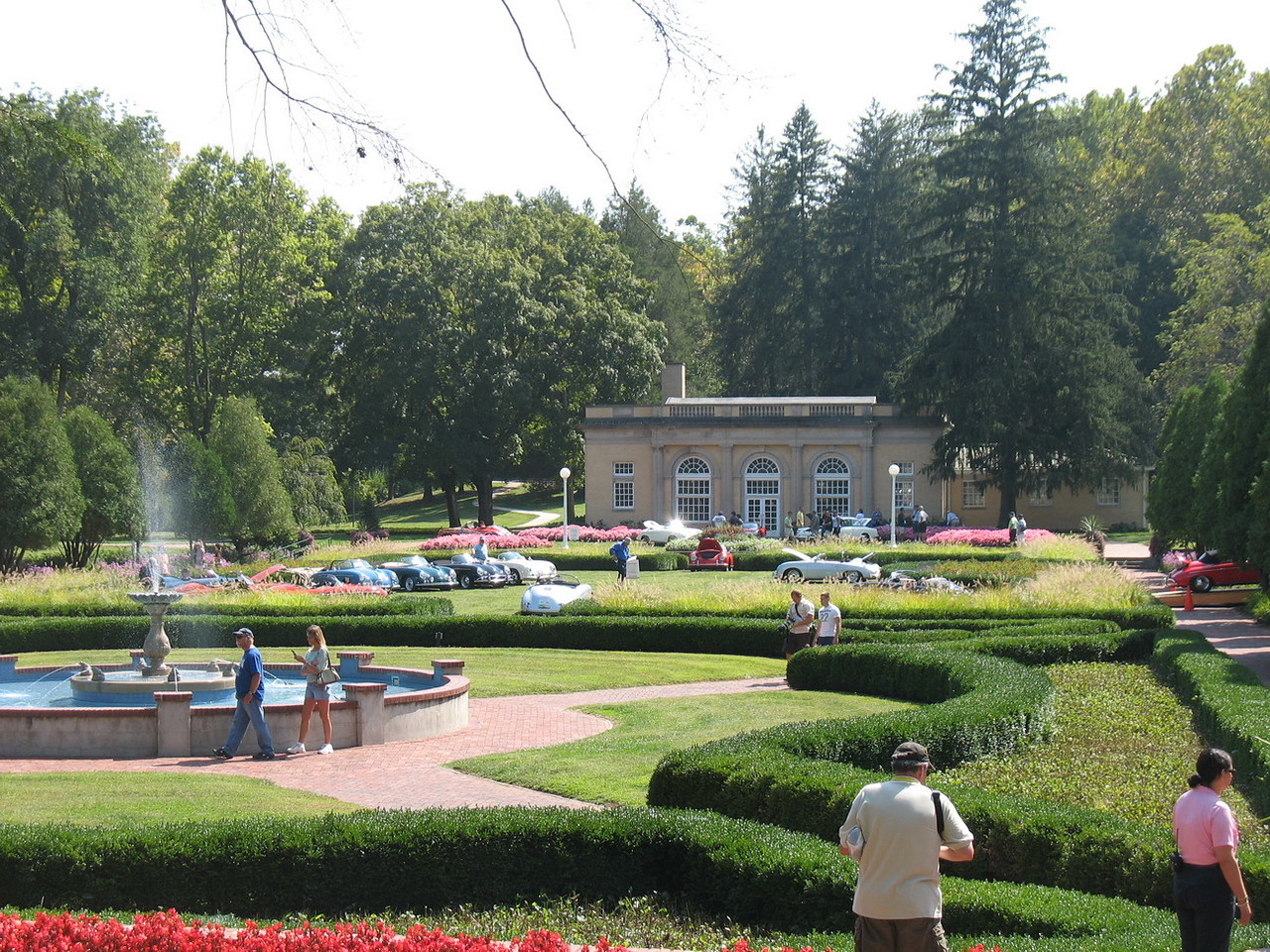 The gardens with cars for the car show.