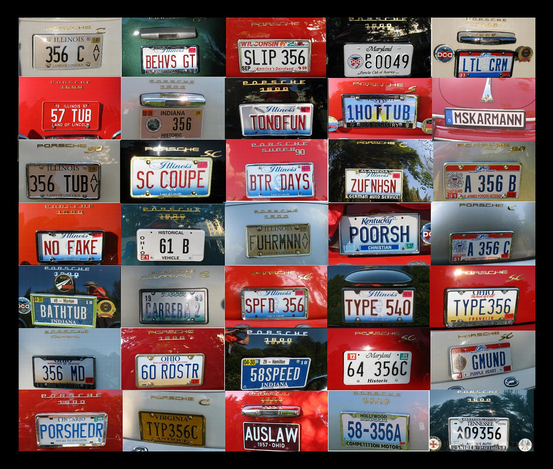 A collage of the Porsche or 356 related vanity plates seen at the car show.