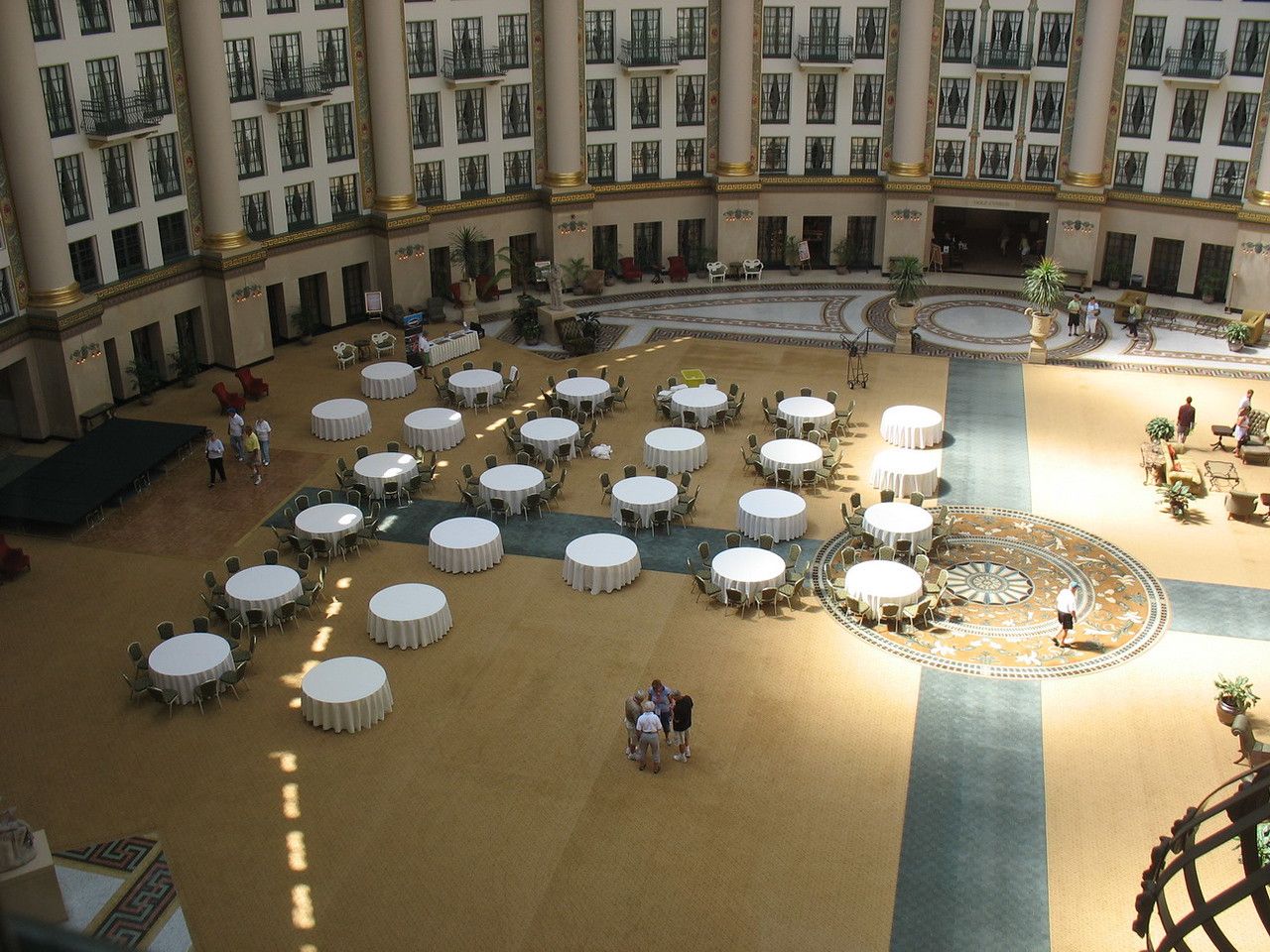 Looking down into the Atrium as they were setting up for our banquet. Great location, but sound was a problem as there was a significant echo.
