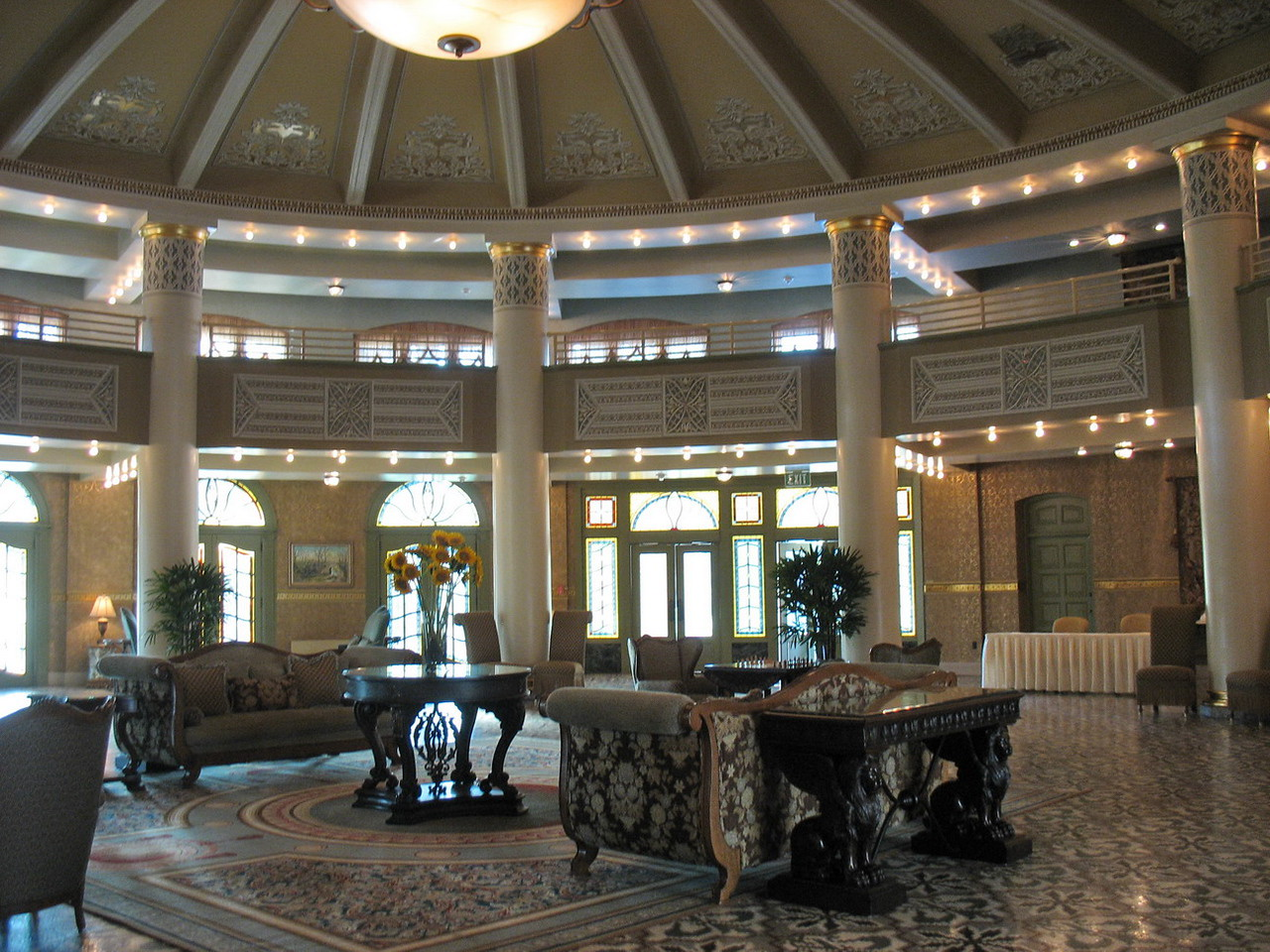 The hotel lobby. Registration desk to the right out of sight.