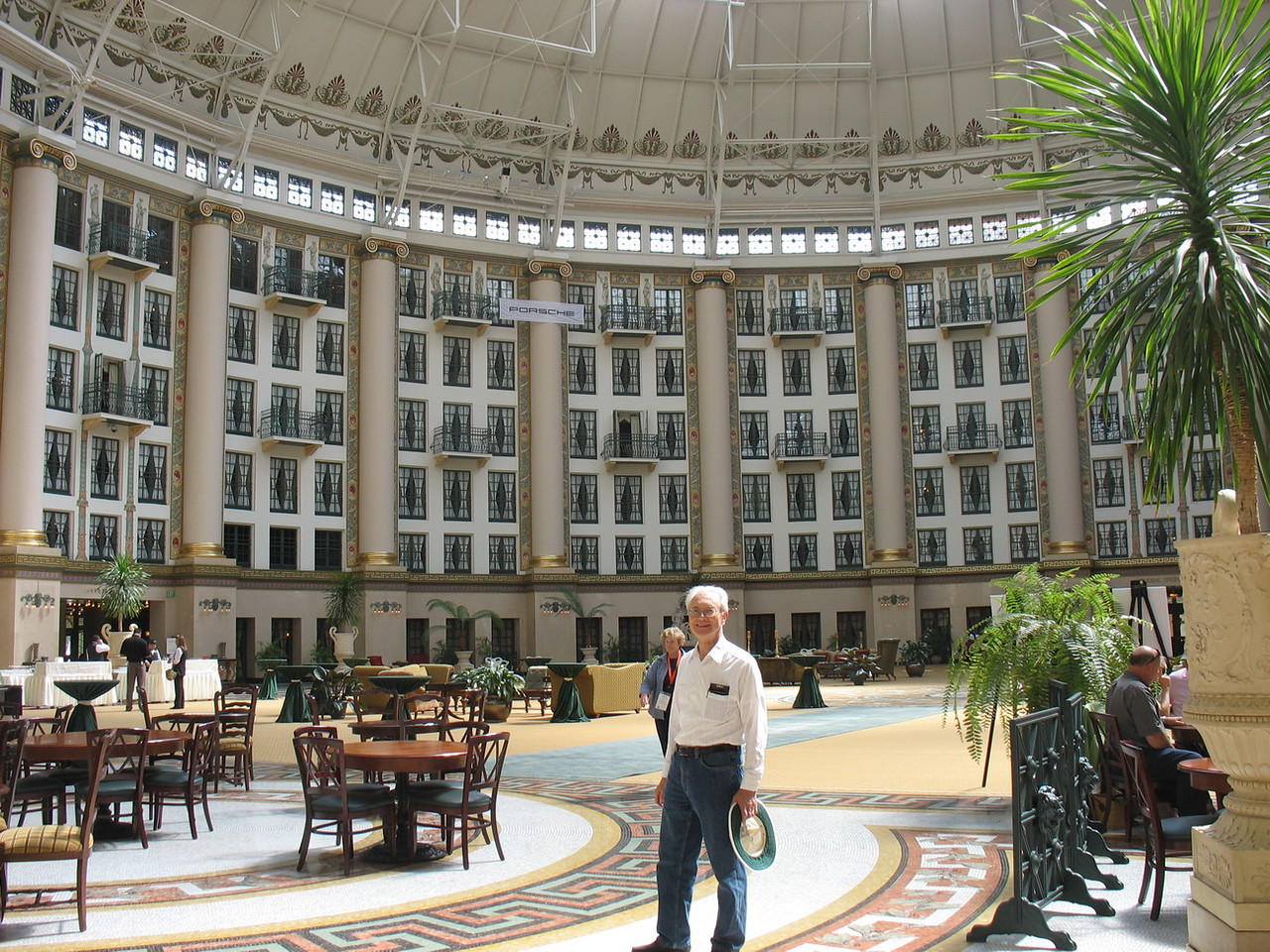 Bob standing in the Atrium, the largest free-standing dome in the world until the Astrodome was built. It is surrounded by six floors of hotel rooms.