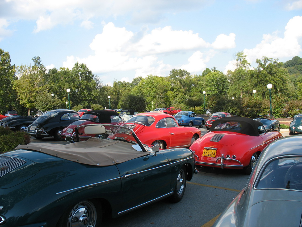 A view of 356s in the parking lot.