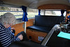 The interior of the camper van showing the cooker/sink unit (very neat) and the rock and roll bed which doubles as a bench seat during the day