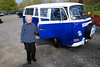 "Mum outside ""Cali"" the Volkswagen Campervan. We hired it for the Easter weekend from Carty's Campers in Coatbridge, Lanarkshire, Scotland."