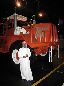 The sheikh who owns the museum.  Behind him the Kenworth that he uses to tow his little motor home.