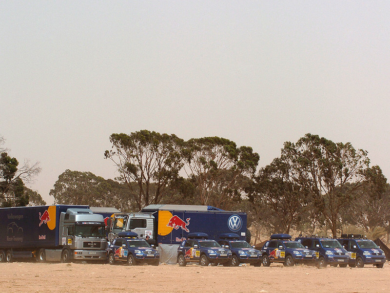 2007 Red Bull Volkswagon Dakar team assistance vehicles. Note the two Eurovans on the far right.