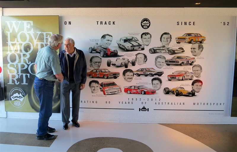 Sir Jack Brabham congratulating Brian on the mural depicting 60 years of the ARDC