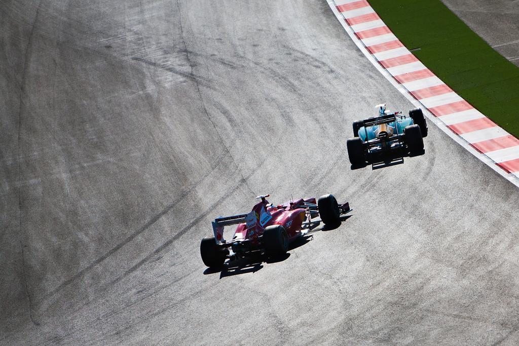 F1 cars at turn 12.