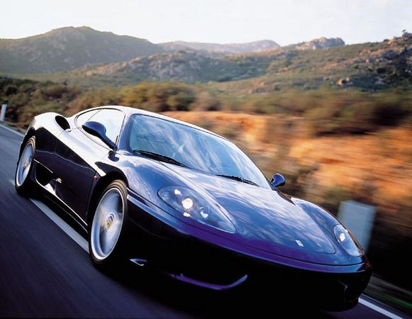 Ferrari 360 Modena In Motion 3 Quarter Front View - Purple