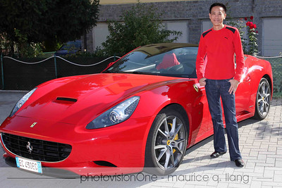 """Maurice with the Ferrari California he """"ordered"""" to get the tour."""
