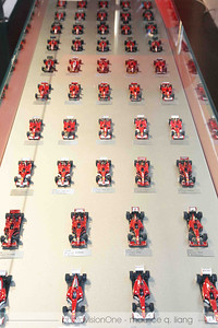 Models of Ferrari's factory racing team over the years.