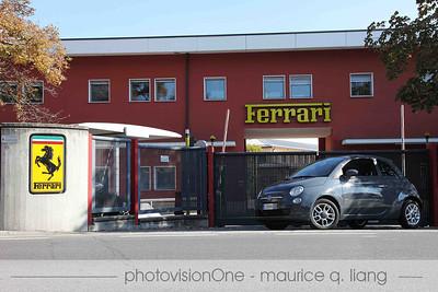Our Fiat 500C rental car in front of Ferrari.