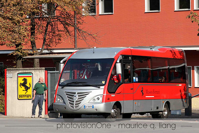 The tour bus takes us from the factory to the racing department, to the client corso, the Fiorano track, and the museum.