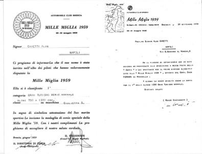 Aldo Caretti certification 1959 Mille Miglia 1st in class.