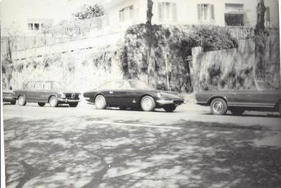 Ferrari 365 GT 2+2.mid 1970's, parked outside Aldo's business Autocentro di Napoli, Italia.