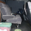 """Folding bench seat converts to bed. Sorry it is a bit messy but went camping and we had 8"""" of rain yesterday after I got home and didn't clean it out"""