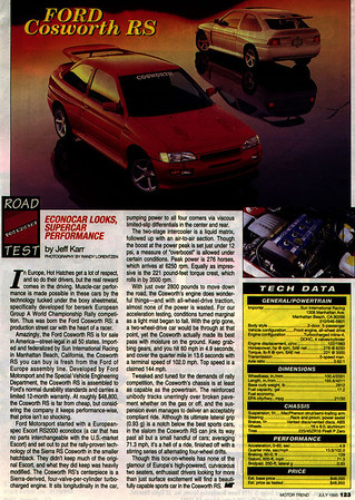 Motor Trend review of Ford RS Cosworth. July 1995