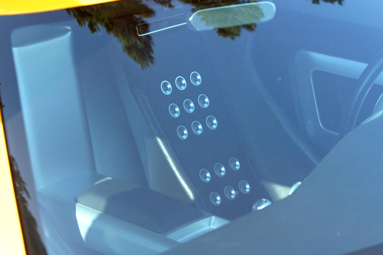 Interior through the windshield.