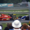 David Coulthard driving a Williams Renault, following Gehard Berger in a Ferrari at the 1994 Canadian Grand Prix