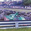 Ricardo Patrese's Benetton Alfa Romeo after crash into tire wall during practice at the 1984 Canadian Grand Prix