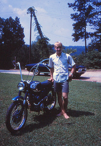 Bruce Underwood and his modified Honda CB160. I learned to ride on Bruce's motorcycles.