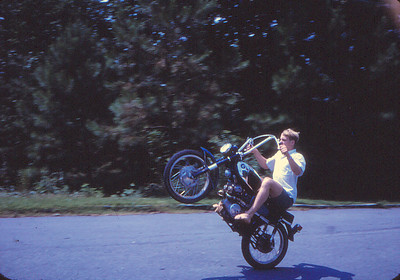 Bruce Underwood showing off in 1968 - he could wheelie a stingray bicycle for half a mile.