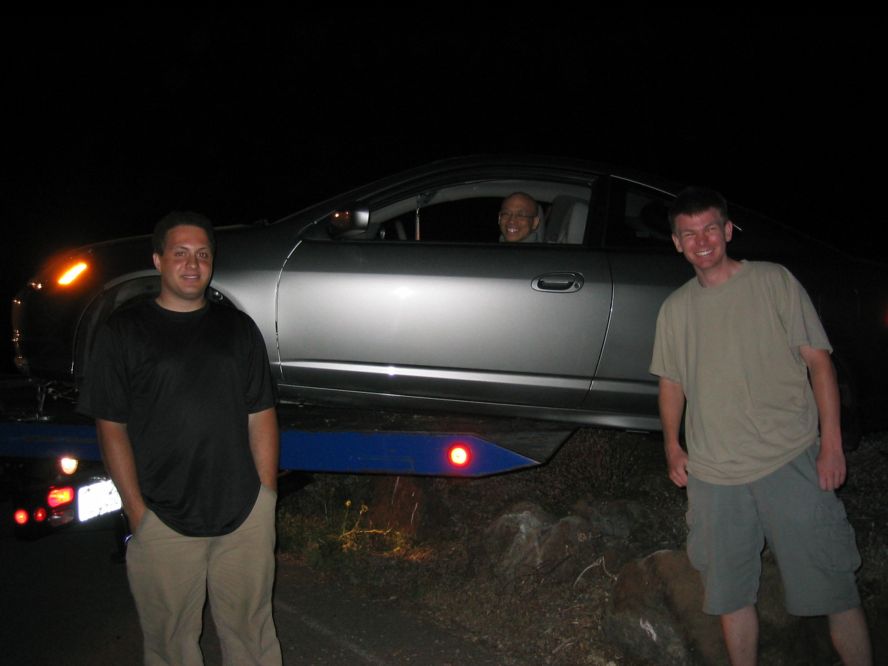 Gilbert and his rock-hopping RSX - Posing with car, 2003 07 19