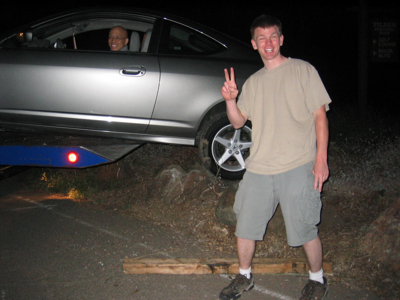 Gilbert and his rock-hopping RSX - In flight, 2003 07 19