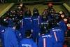 pre-race huddle, for final instructions from Yuri