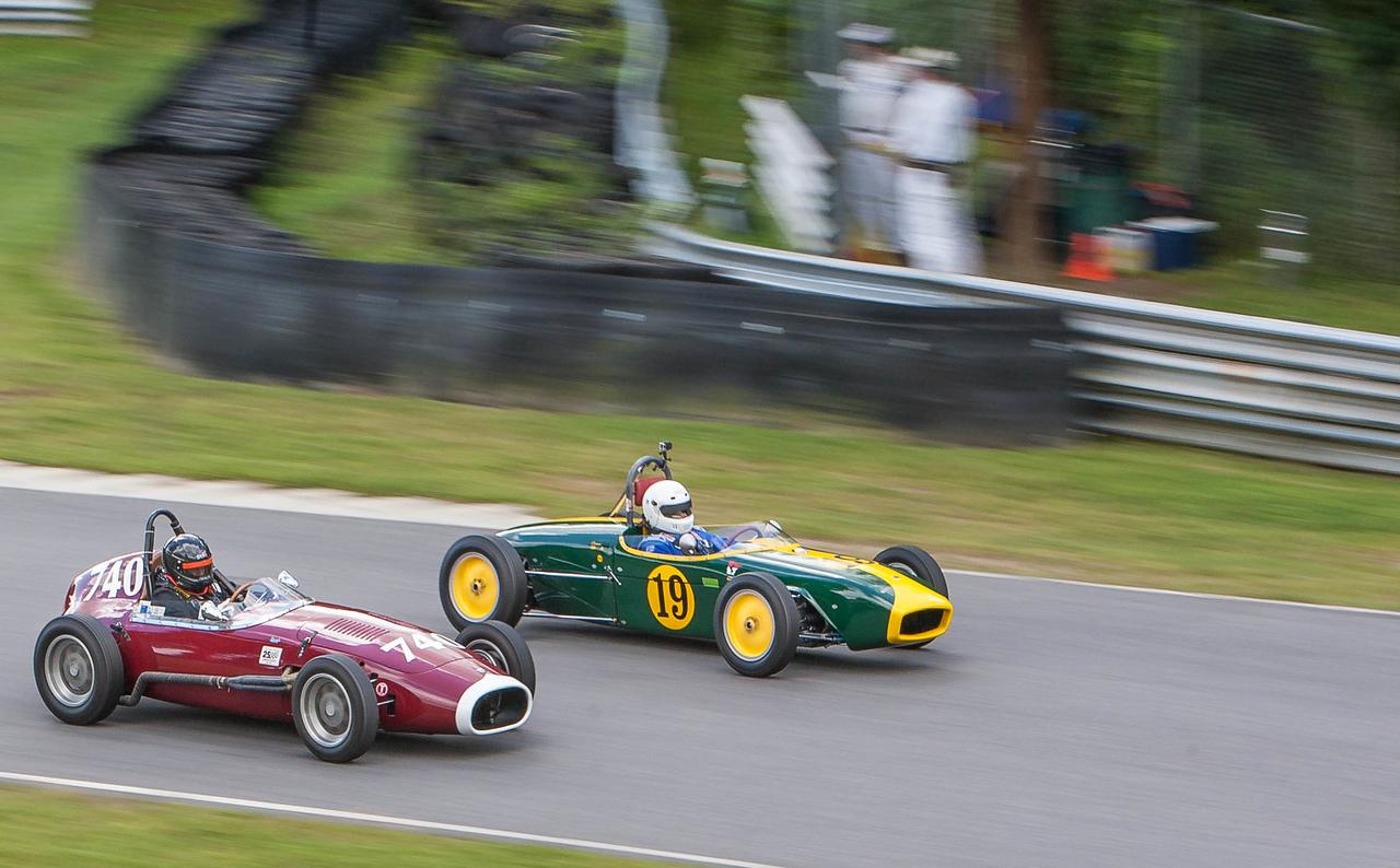1960 Lotus 18 (#19) leads 1959 OSCA
