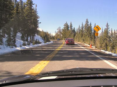 Gaining altitude toward Mount Evans, snow at this time of year is a given.