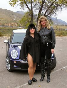 """Rick (left) as """"Elvira -- Mistress of the Dark"""" and Jayme, the Dominatrix are ready to motor."""